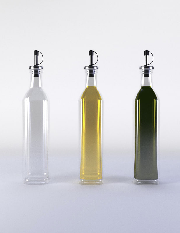3d olive oil bottle set