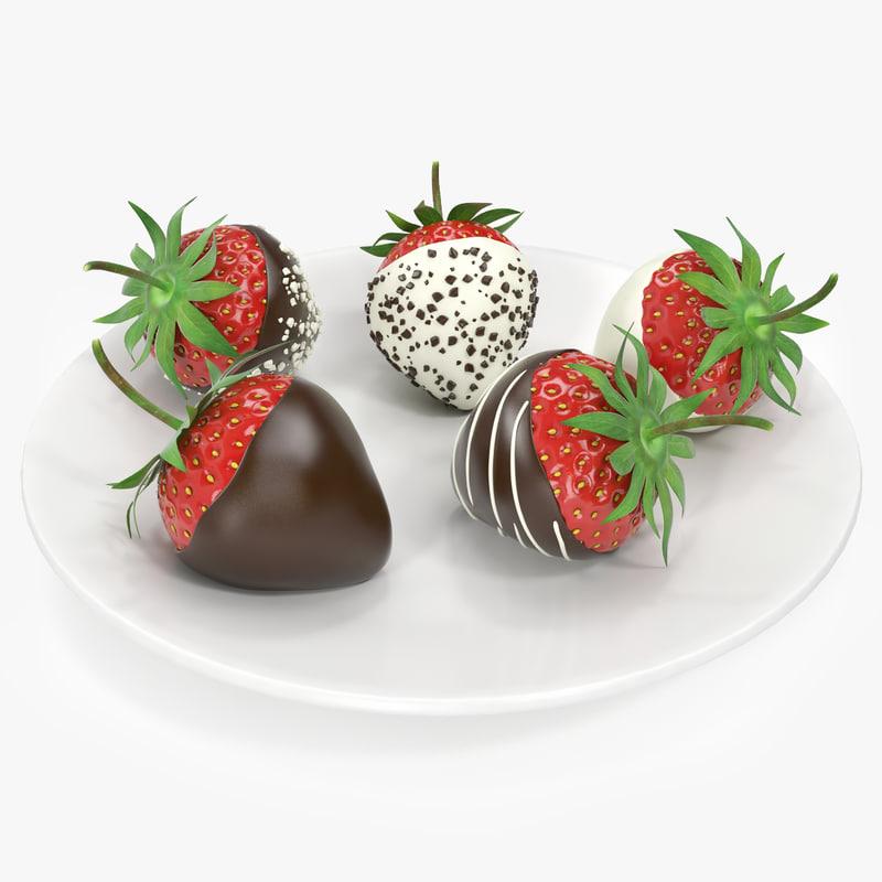 strawberries chocolate 3d obj