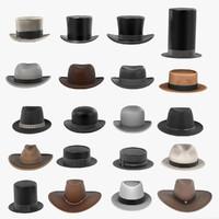3d men hats model