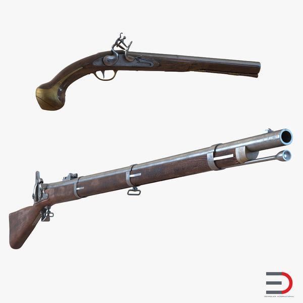 muskets set flintlock 3d 3ds