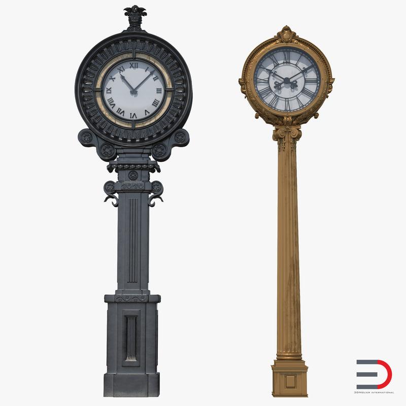 new york street clocks 3d model