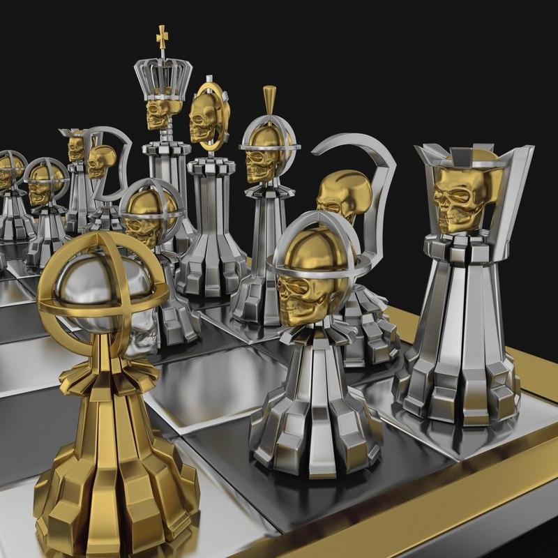 chess skull 3d max
