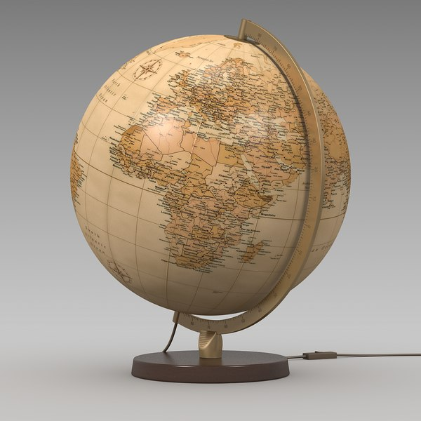 World Globe Lamp Antique S