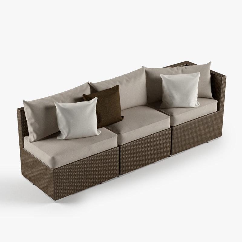 3ds max rattan lounge furniture