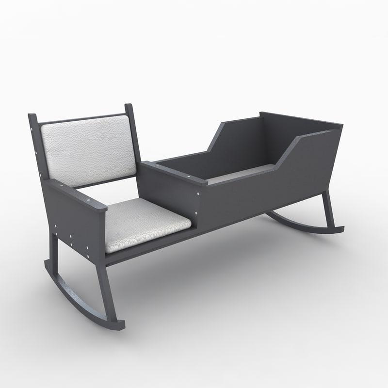 3d baby cradle model