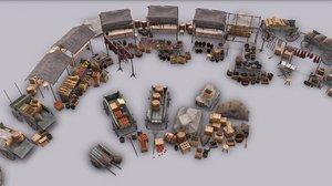 stalls crates barrels 3d model