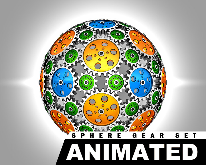 3d gear spheres animation set