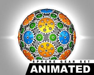 3d gear spheres animation set