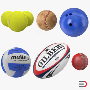 3d sport balls 2 tennis model