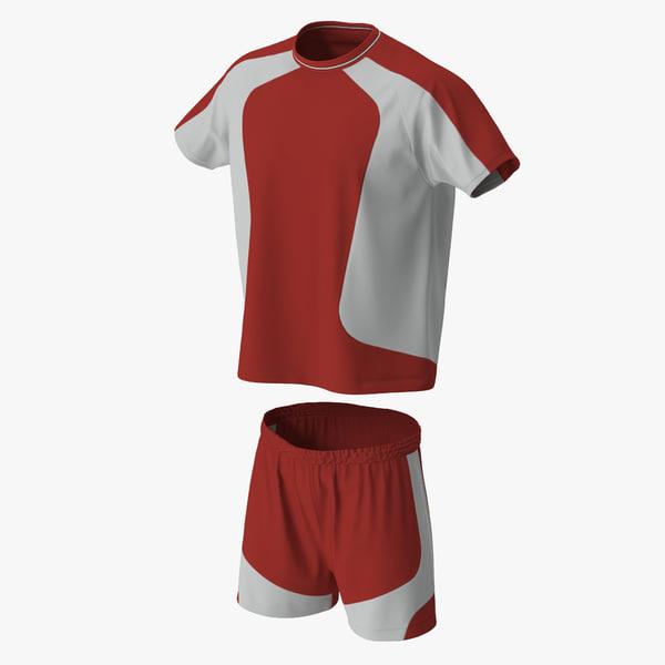 3d model soccer uniform red 2