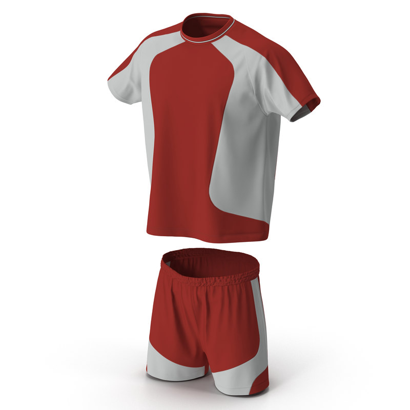 3d model soccer uniform red 2