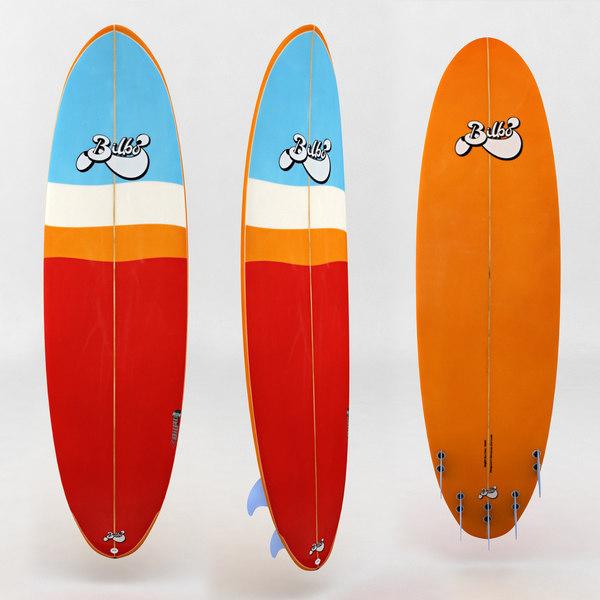 surfboard red orange board 3d model