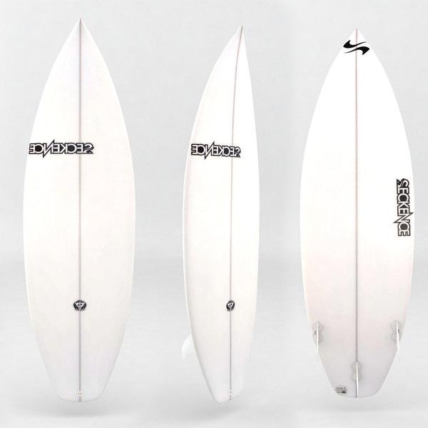 3d surfboard white board model