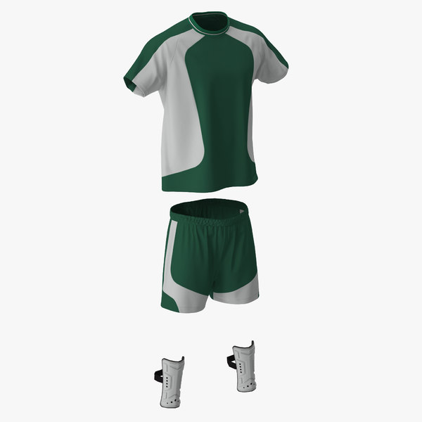 3d soccer uniform green model