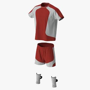3d soccer uniform red model
