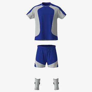 3d model soccer uniform blue