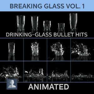glasses shattered previz 3d model