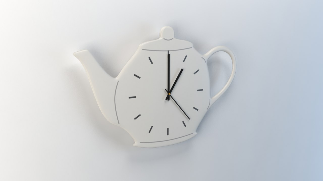 3d model wall clock teapot kitchen