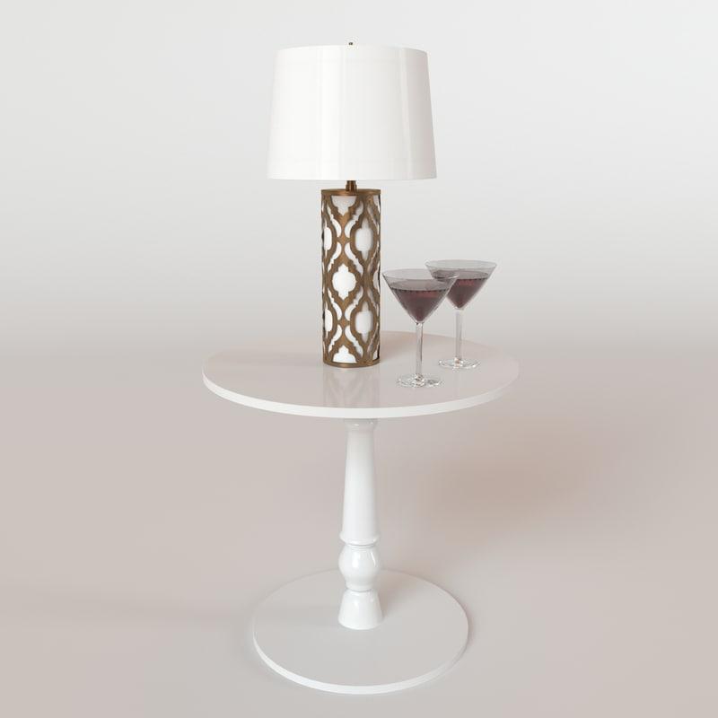 maya arabella lamp table glasses