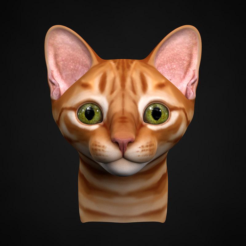 3d obj kitten head