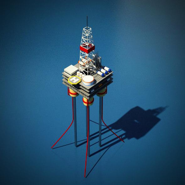 3d oil rig platform model