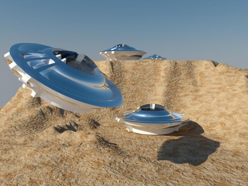 3d model ufo desert