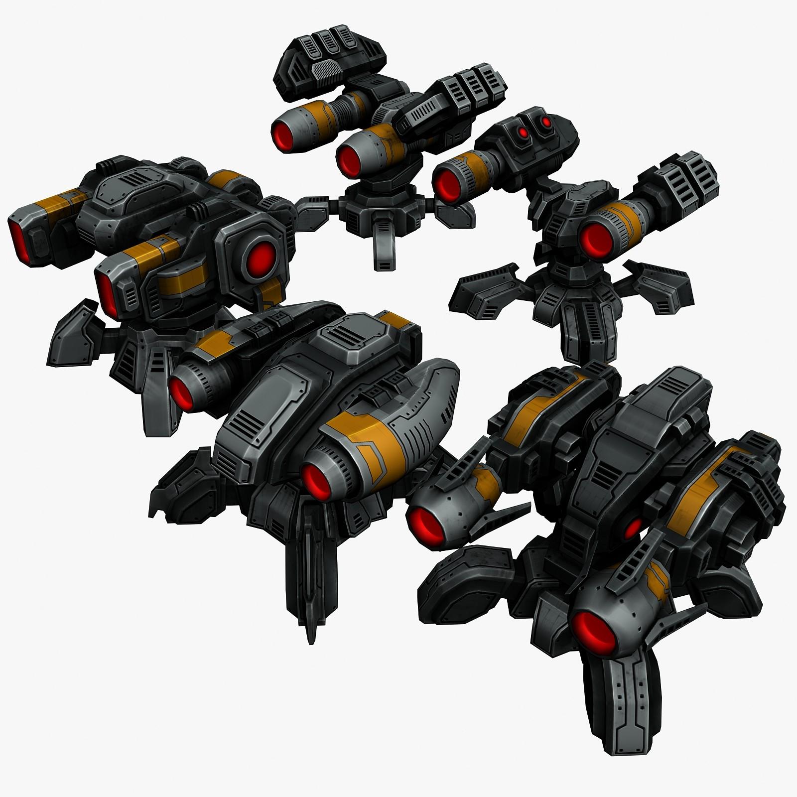 5 energy beams 3d model