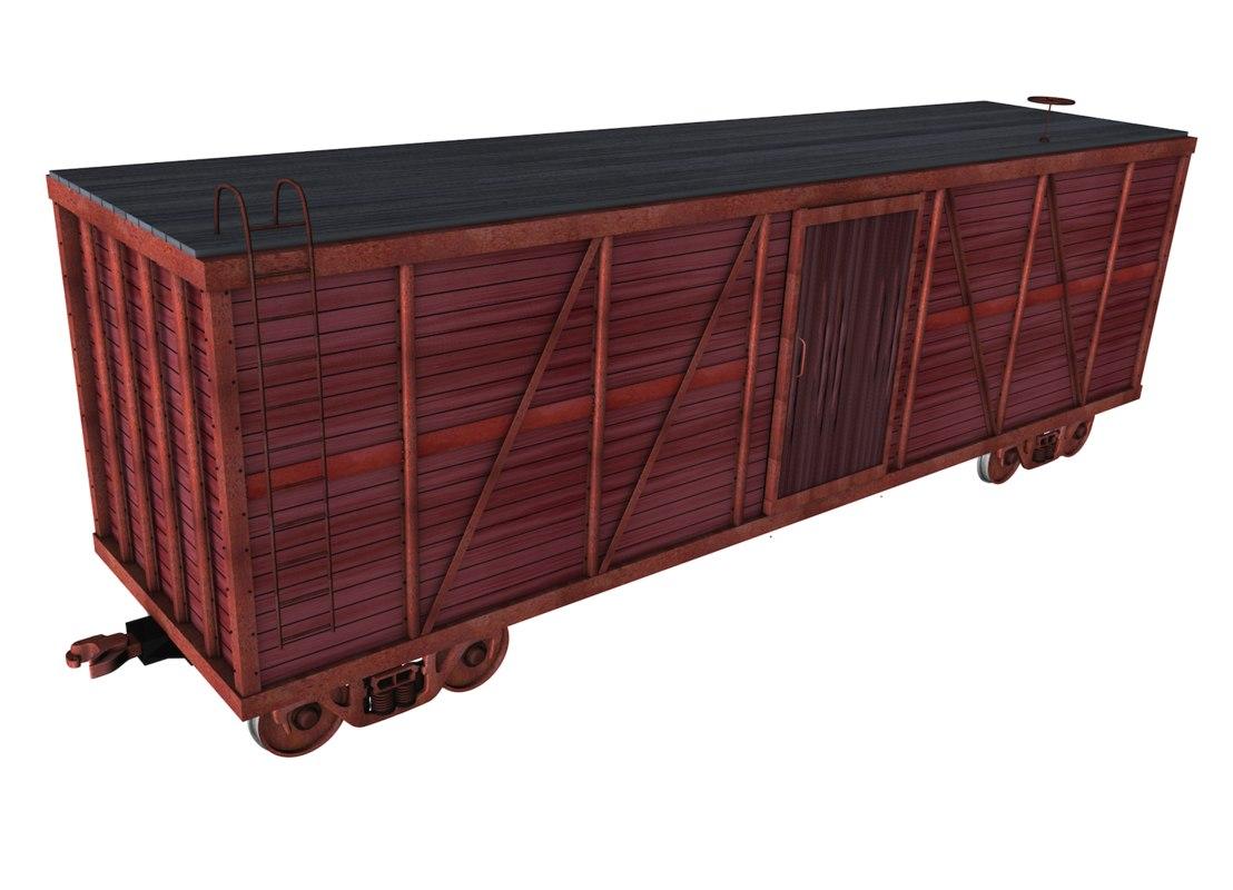 box car wood metal 3d c4d