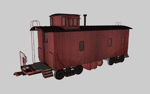 caboose train car 3d 3ds