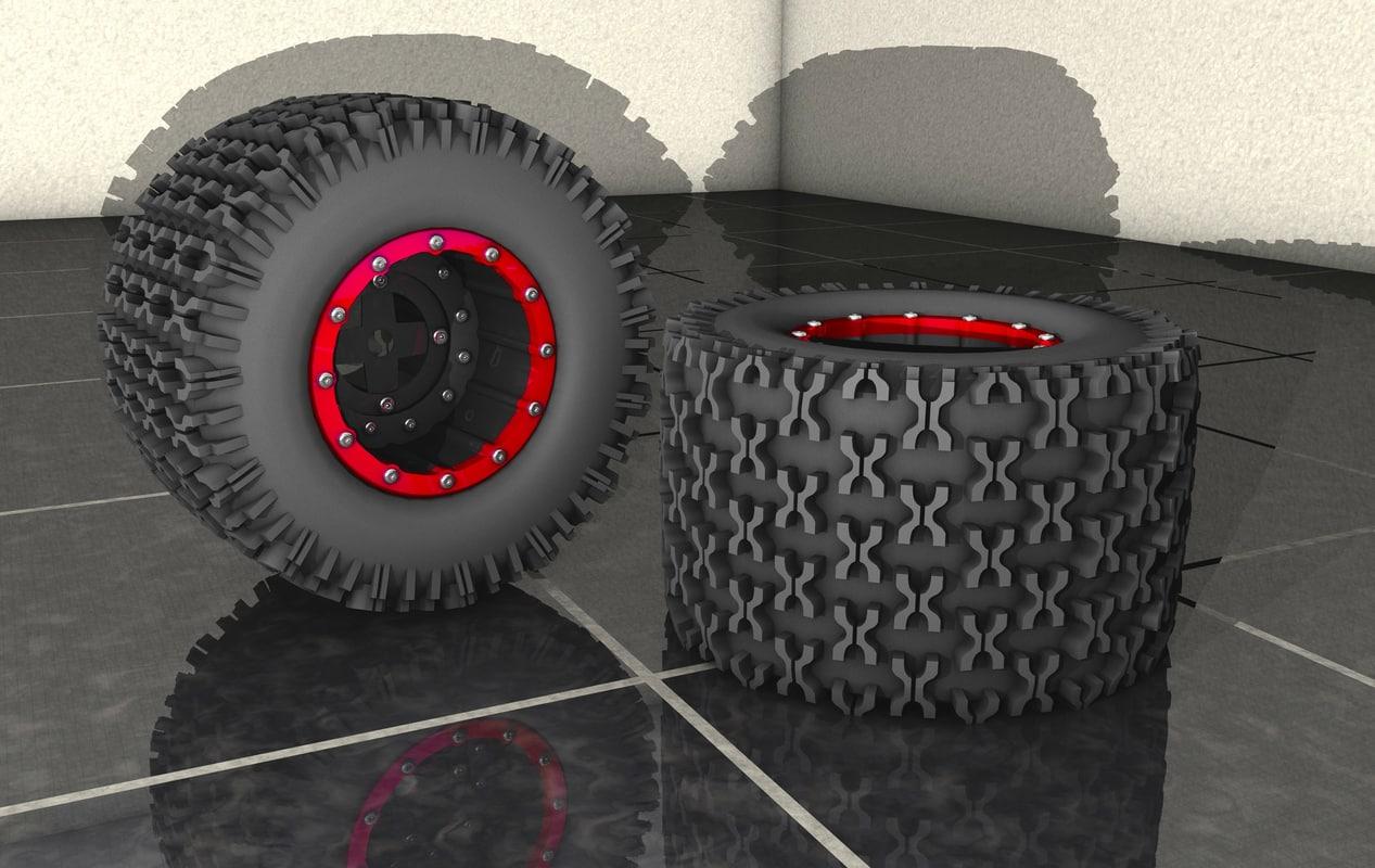 3d assortment wheels tires model