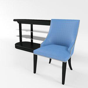 chair bermuda table pierce 3d model