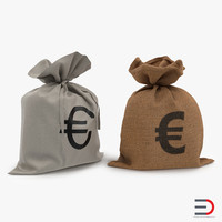 3d model euro money bags modeled