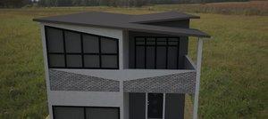 townhouse facade 3d obj