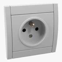 3d model of european electrical outlet generic