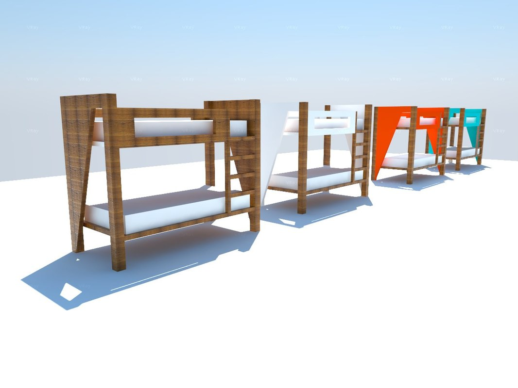 bunk bed century style 3d 3ds