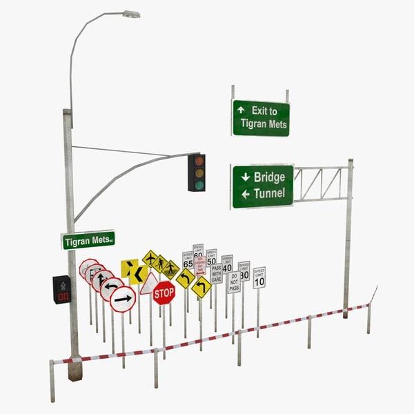 3d traffic road signs street elements