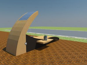 3d model of sunchair connected furniture