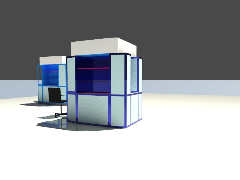 blue stand mall 3d model