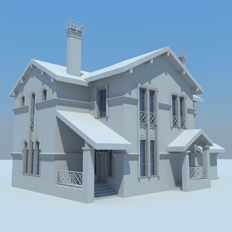 3d cottage house buildings model