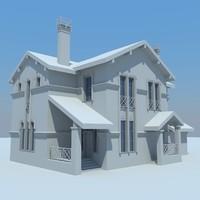3d cottage house buildings model