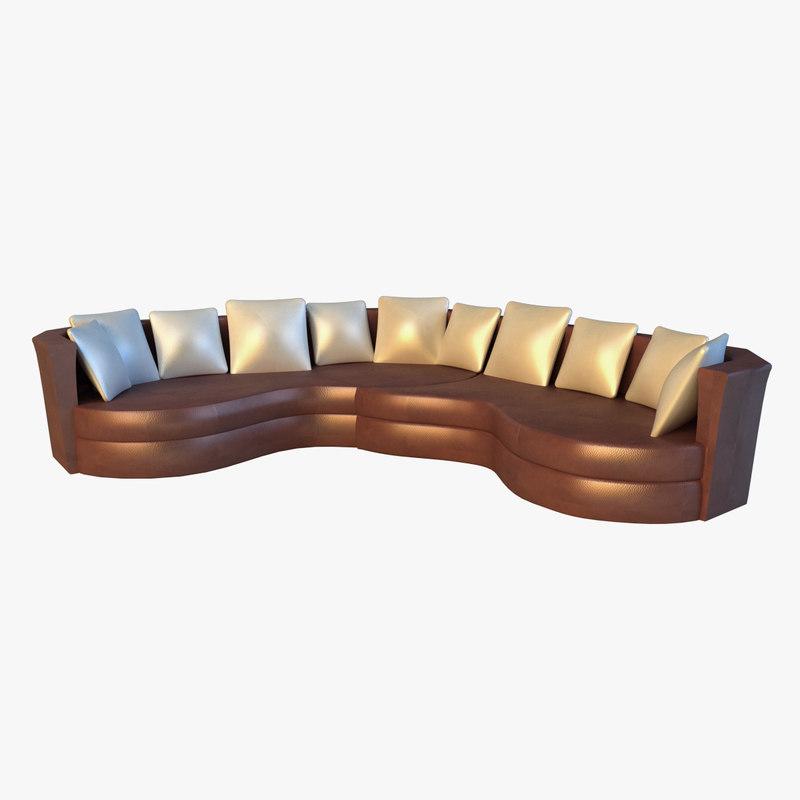 large luxury leather sofa 3d obj