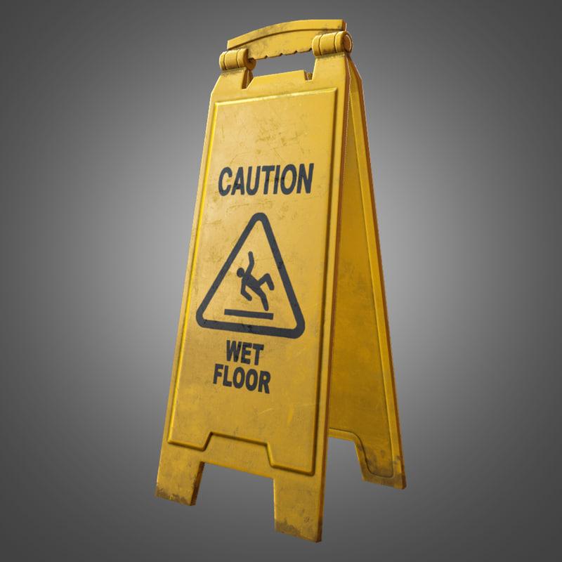 3ds max caution floor sign -