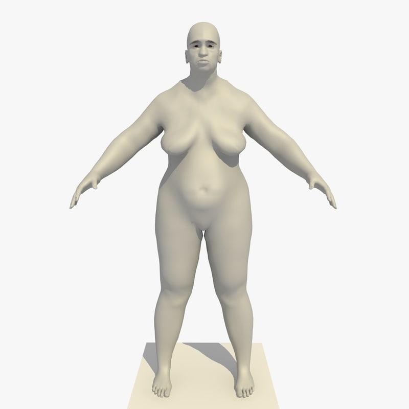 base mesh old obese 3d c4d