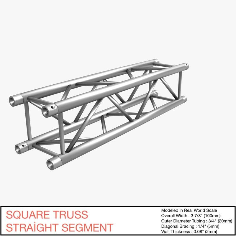 3d square truss straight segment model