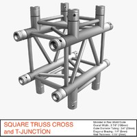 3d square truss cross t-junction model