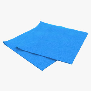 3d paper napkin blue model