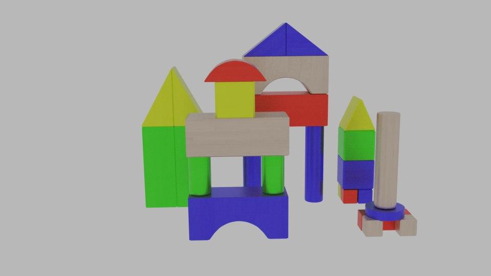 3d model toy blocks