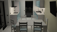 3d kitchen design simple model