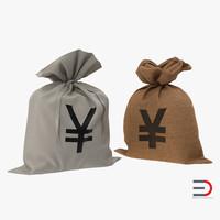 3d yen money bags