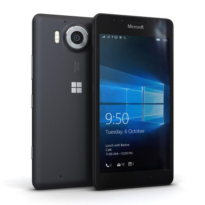 3d model microsoft lumia 950 black
